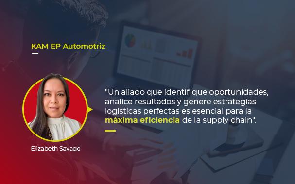 """Sobre la foto de un profesional evaluando datos, está la foto de Elizabeth Sayago, autora del artículo, y una cita: """"un aliado que identifique oportunidades, analice resultados y genere estrategias logísticas perfectas es esencial para la máxima eficiencia de la supply chain""""."""