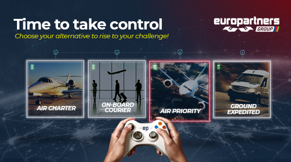 The picture shows a hand holding a videogame joystick. On the screen in front of the person, there's four Time Critical Cargo options: air charter, on-board courier, sir priority and ground expedited. On the top of the ad, it's writter: Europartners, time to take control, choose your alternatives to rise to your challenge!